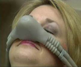 Photo of woman receiving nitrous oxide, which is available from Pasadena dentist Dr. Arash Azarbal.