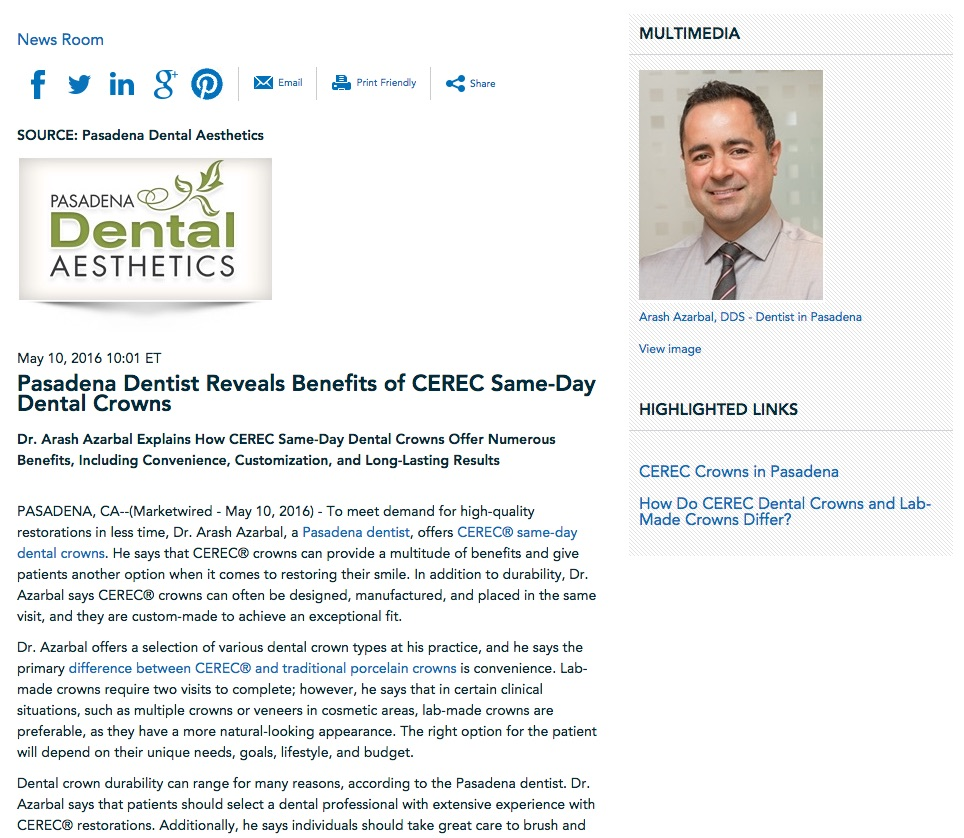 Dr. Azarbal discusses benefits of CEREC dental crowns.
