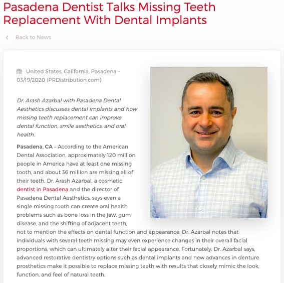Dr. Arash Azarbal, a dentist in Pasadena, discusses dental implants and the importance of missing teeth replacement.